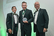 From Left, Larry Starr, Francis Papay and Ron Teplitzky pose after Papay was awarded the Medal of Merit during the 2016 Alumni Awards Gala at Ohio University's Baker Center Ballroom on Friday, October 07, 2016.