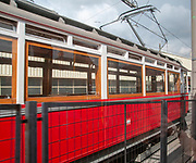 Old style electric tram in the train station Innsbruck, Austria