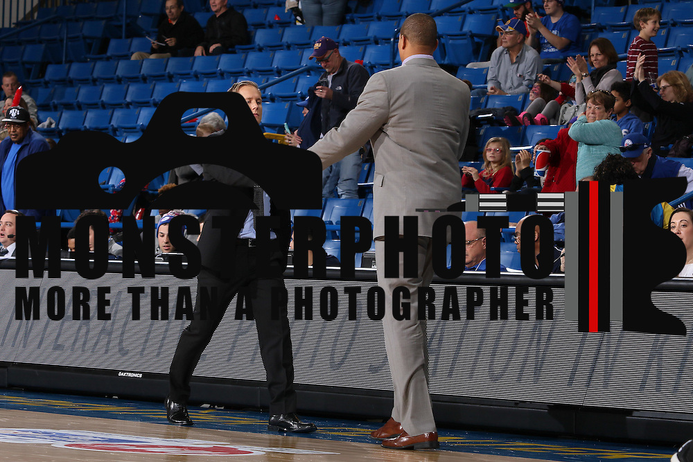 Delaware 87ers Head Coach KEVIN YOUNG shakes hands with Canton Charge Assistant Coach MIKE BATISTE after a NBA D-league regular season win over the Canton Charge Tuesday, JAN, 26, 2016 at The Bob Carpenter Sports Convocation Center in Newark, DEL.
