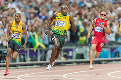 09.08.2012, Olympia Stadion, London, GBR, Olympia 2012, Leichtathletik, im Bild WARREN WEIR 8 USAIN BOLT 7 WALLACE SPEARMON 6 // during Athletics, at the 2012 Summer Olympics at the Olympic Stadium, London, United Kingdom on 2012/08/09. EXPA Pictures © 2012, PhotoCredit: EXPA/ Newspix/ Sebastian Borowski..***** ATTENTION - for AUT, SLO, CRO, SRB, SUI and SWE only *****