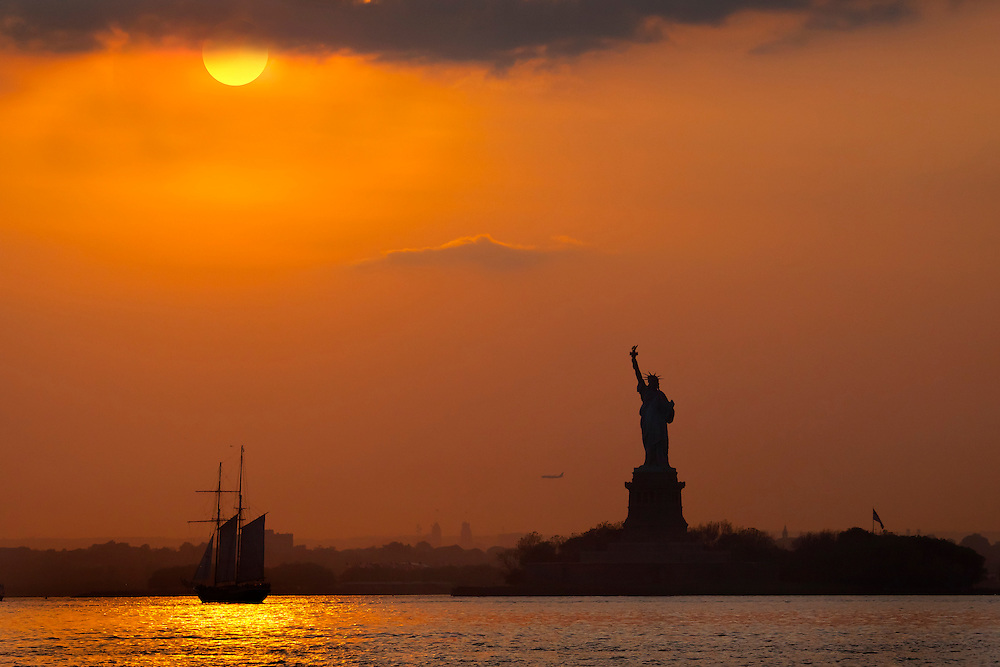 Lady Liberty as seen from Red Hook, Brooklyn, about an hour before sunset.