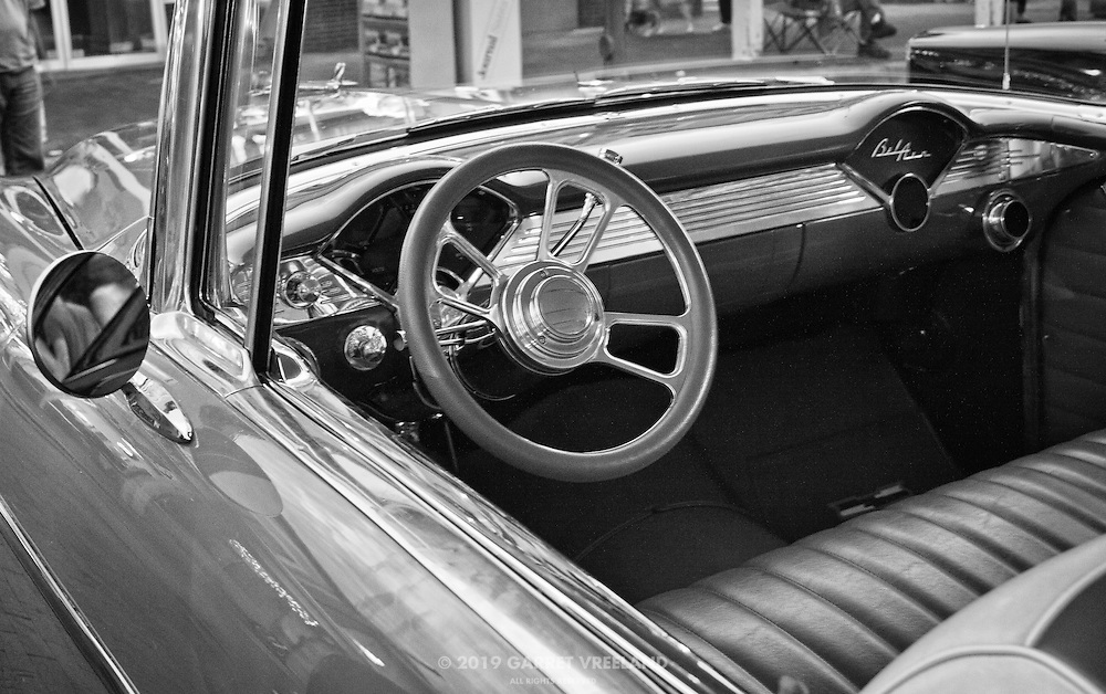 Vintage Chevy Bel Air dashboard.