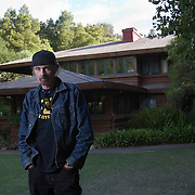 "Acclaimed author TC Boyle resides in a Frank Lloyd Wright home in Montecito, California. No publication rights provided. Please see ""Usage Rights."""