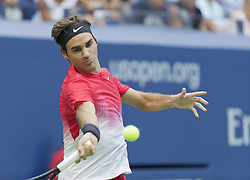 August 31, 2017 - New York, New York, United States - Roger Federer of Switzerland returns ball during match against Mikhail Youzhny of Russia at US Open Championships at Billie Jean King National Tennis Center (Credit Image: © Lev Radin/Pacific Press via ZUMA Wire)