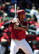 Apr. 10 2011; Phoenix, AZ, USA; Arizona Diamondbacks outfielder Chris Young (24) reacts at bat against the Cincinnati Reds at Chase Field. Mandatory Credit: Jennifer Stewart-US PRESSWIRE.