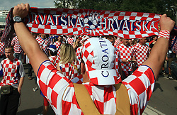 Fans of Croatia coming to the game before the UEFA EURO 2008 Group B soccer match between Austria and Croatia at Ernst-Happel Stadium, on June 8,2008, in Vienna, Austria.  (Photo by Vid Ponikvar / Sportal Images)