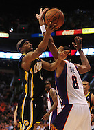 Mar. 6 2010; Phoenix, AZ, USA;  Indiana Pacers forward Troy Murphy (3) puts up a shot against Phoenix Suns center Channing Frye (8) in the first half at the US Airways Center.  Mandatory Credit: Jennifer Stewart-US PRESSWIRE