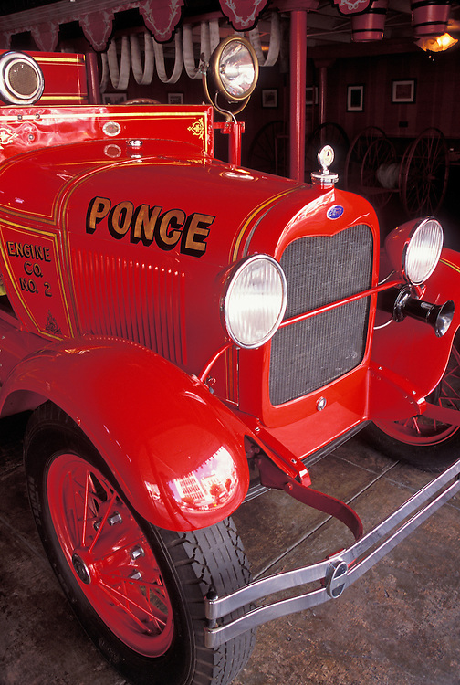 Old fire engine at Parque de Bombas fire station museum; Ponce, Puerto Rico.