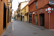 Empty Carrer de Santa Maria in Sant Cugat del Valles, a normally bustling city of some 90,000 people outside Barcelona, on the day before Spain exerted a state of Emergency to deal with the spread Coronavirus. Spain is one of the worst affected countries. Schools and retail businesses are closed, except for supermarkets and pharmacies.