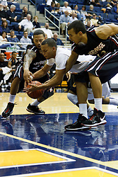 November 16, 2010; Berkeley, CA, USA;  California Golden Bears guard Emerson Murray (31) grabs a loose ball from Cal State Northridge Matadors guard/forward Rashaun McLemore (left) and forward Thomas Jacobs (right) during the first half at Haas Pavilion.