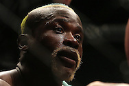 Sibusiso Mdoko (Blue) looks on after being knocked down during the seventh bout of the Extreme Fighting Championships, EFC 52 held at the Grand West Casino in Cape Town, South Africa on the 5th August 2016<br /> <br /> Photo by:   Shaun Roy / Real Time Images