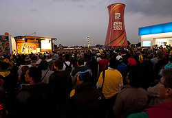 Fans watching Netherlands vs Brazil match  prior to the 2010 FIFA World Cup South Africa Quarter Finals football match between Uruguay and Ghana on July 02, 2010 at Soccer City Stadium in Sowetto, suburb of Johannesburg. (Photo by Vid Ponikvar / Sportida)