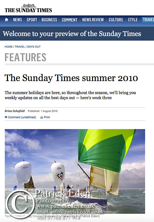 Cowes Week, Sailing, Yachting, The Sunday Times, Summer, 2010, Isle of Wight, Uk,