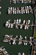 Aerial view of boats at a marina in Isle of Palms, SC.