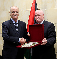 January 3, 2018 - Ramallah, West bank, Palestinian Territory - Palestinian prime minister ,Rami Hamdallah, meets with Palestinian Health Minister Jawad Awad , in the West Bank city of Ramallah, on January 3, 2018  (Credit Image: © Prime Minister Office/APA Images via ZUMA Wire)