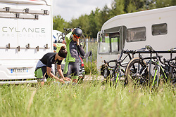Sheyla Gutierrez & Rachele Barbieri prepare for the Boels Rental Ladies Tour Stage 3 a 16.9 km individual time trial in Roosendaal, Netherlands on August 31, 2017. (Photo by Sean Robinson/Velofocus)