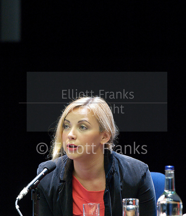Conservative Party Conference, ICC, Birmingham, Great Britain <br /> 10th October 2012 <br />  Day 4<br /> <br /> Charlotte Church <br /> speaking at the Hacked Off fringe meeting <br /> <br /> <br /> <br /> Photograph by Elliott Franks<br /> <br /> United Kingdom<br /> Tel 07802 537 220 <br /> elliott@elliottfranks.com<br /> <br /> &copy;2012 Elliott Franks<br /> Agency space rates apply