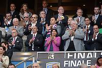 Paul GOZE / Francois HOLLANDE / Anne HIDALGO / Thomas SAVARE  - 13.06.2015 - Clermont / Stade Francais - Finale Top 14<br />Photo : Nolwenn Le Gouic / Icon Sport