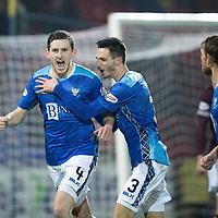 St Johnstone v Hearts…05.12.18…   McDiarmid Park    SPFL<br />Blair Alston celebrates his goal<br />Picture by Graeme Hart. <br />Copyright Perthshire Picture Agency<br />Tel: 01738 623350  Mobile: 07990 594431