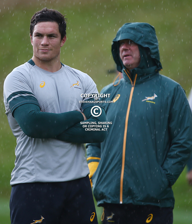 LONDON, ENGLAND - OCTOBER 14: Francois Louw with Heyneke Meyer (Head Coach) of South Africa during the South African national rugby team training session at Pennyhill Park on October 14, 2015 in London, England. (Photo by Steve Haag/Gallo Images)