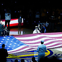 01 June 2017: hree-time GRAMMY Award-winning Bay Area band Train, Pat Monahan sings the National Anthem prior to the Golden State Warriors 113-90 victory over the Cleveland Cavaliers, in game 1 of the 2017 NBA Finals, at the Oracle Arena, Oakland, California, USA.