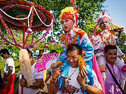 """05 APRIL 2018 - CHIANG MAI, THAILAND:  on the second day of the three day long Poy Sang Long ceremony at Wat Pa Pao in Chiang Mai. Poy Sang Long (""""The Festival of the Crystal Sons"""") is a ceremony that marks a rite of passage among the Buddhist Shan people in Myanmar and northern Thailand. Boys between seven and fourteen years of age are ordained as Buddhist novices during a three day ceremony.    PHOTO BY JACK KURTZ"""