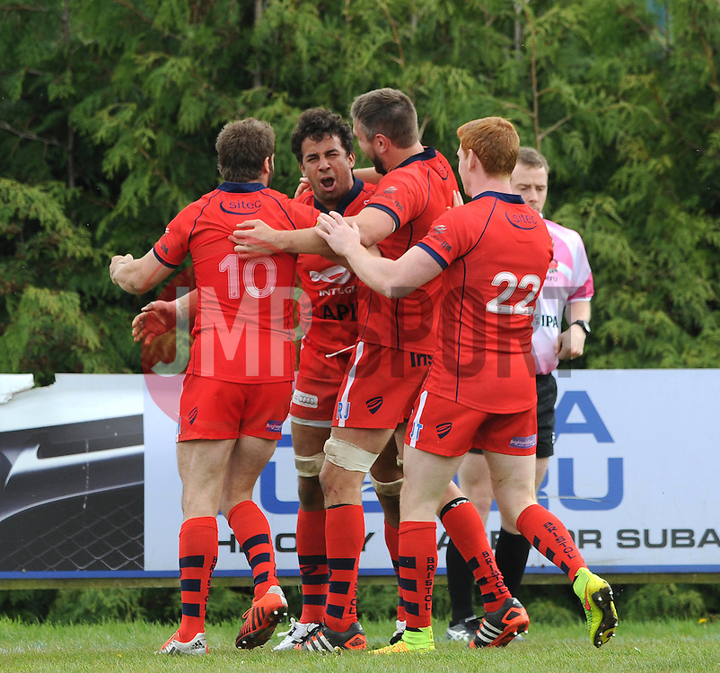 Bristol Rugby Flanker Marco Mama celebrates with his team mates after scoring a try - Photo mandatory by-line: Dougie Allward/JMP - Mobile: 07966 386802 - 10/05/2015 - SPORT - Rugby - Sheffield - Abbeydale Dale Sports - Rotherham Titans v Bristol Rugby - Greene King IPA Championship