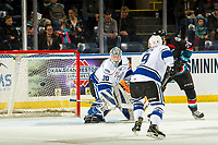 KELOWNA, CANADA - NOVEMBER 23:  Leif Mattson #28 of the Kelowna Rockets marks his 100th career point with a goal on Griffen Outhouse #30 of the Victoria Royals on November 23, 2018 at Prospera Place in Kelowna, British Columbia, Canada.  (Photo by Marissa Baecker/Shoot the Breeze)