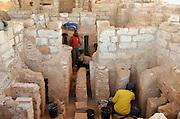 A team excavating the ruins at Caesarea, Israel