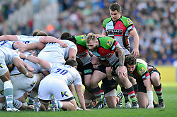 Joe Marler (Harlequins) prepares to scrummage against his opposite number - Photo mandatory by-line: Patrick Khachfe/JMP - Tel: Mobile: 07966 386802 29/03/2014 - SPORT - RUGBY UNION - The Twickenham Stoop, London - Harlequins v London Irish - Aviva Premiership.