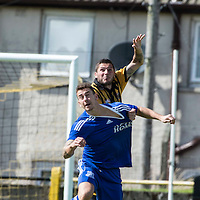 Picture by Christian Cooksey/CookseyPix.com.<br /> All rights reserved. For full terms and conditions see www.cookseypix.com<br /> <br /> Juniors - Auchinleck Talbot v Glenafton Athletic. Auchinleck's Gordon Pope outjumps Glenafton's Daniel Orsi.