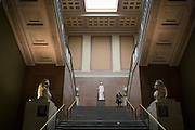 The South Stairs of the British Museum with the two lions that once adorned the Mausoleum of Halicarnassus (now in Bodrum, Turkey) and one of the Seven Wonders of the World, on 28th February 2017, in London, England.