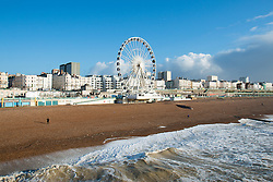 © Licensed to London News Pictures. 31/12/2015. Brighton, UK. Brighton beach basks in the sunshine on new Years Eve with sunny and warm weather hitting Brighton. Today December 31st 2015. Photo credit: Hugo Michiels/LNP