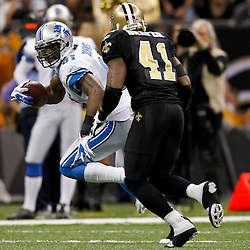 January 7, 2012; New Orleans, LA, USA; Detroit Lions wide receiver Calvin Johnson (81) is pursued by New Orleans Saints safety Roman Harper (41) during the 2011 NFC wild card playoff game at the Mercedes-Benz Superdome. Mandatory Credit: Derick E. Hingle-US PRESSWIRE