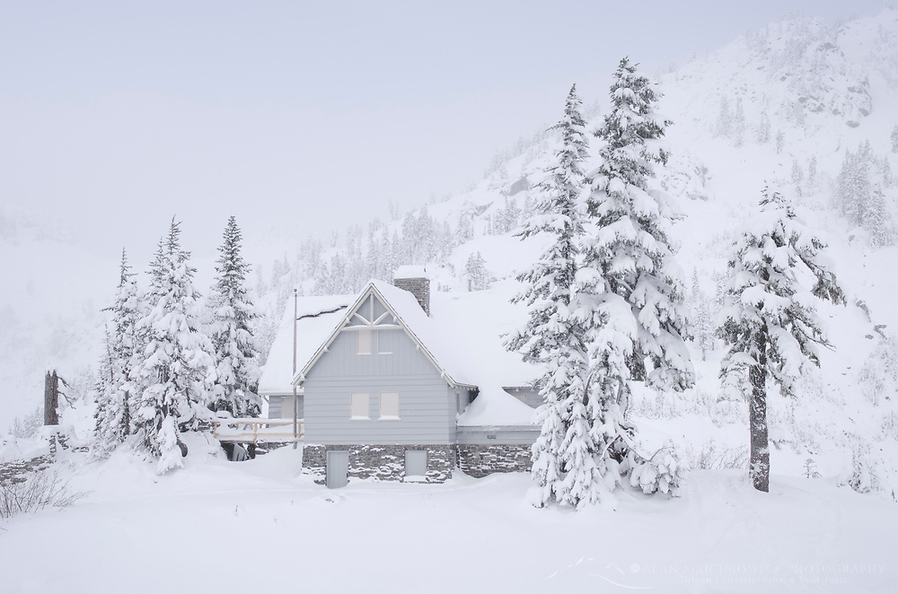 Heather Meadows Visitor's Center in winter, North Cascades Washington