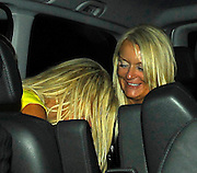 02.08.2007. LONDON<br /> <br /> KATIE PRICE AKA JORDAN LEAVING THE SANDERSON HOTEL AT 11.30PM WITH MICHELLE HEATON AND A FEW OTHER FRIENDS.THEY THEN WENT ON TO MOVIDA NIGHT CLUB. SHE LEFT MOVIDA NIGHT CLUB AT 3.00AM STUMBLING INTO THE CAR, MAYFAIR, LONDON, UK.<br /> <br /> BYLINE: EDBIMAGEARCHIVE.CO.UK<br /> <br /> *THIS IMAGE IS STRICTLY FOR UK NEWSPAPERS AND MAGAZINES ONLY*<br /> *FOR WORLD WIDE SALES AND WEB USE PLEASE CONTACT EDBIMAGEARCHIVE - 0208 954 5968*