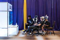 Members of the LSU Tigers play video games at their team hotel on Thursday, Dec. 26, in Atlanta. #4 Oklahoma will face #1 LSU in the 2019 College Football Playoff Semifinal at the Chick-fil-A Peach Bowl on Saturday, Dec. 28, 2019. (Paul Abell via Abell Images for the Chick-fil-A Peach Bowl)