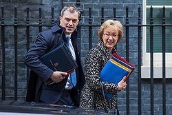 © Licensed to London News Pictures. 27/03/2018. London, UK. Conservative Chief Whip Julian Smith (L) and Leader of the House of Commons Andrea Leadsom (R) on Downing Street after the weekly Cabinet meeting. Photo credit: Rob Pinney/LNP