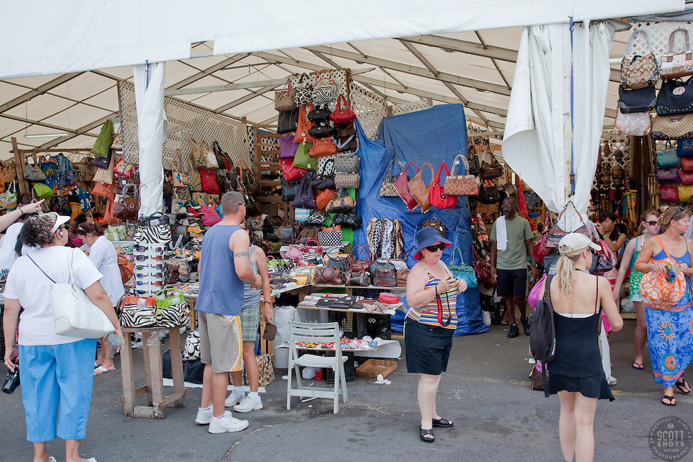 People shopping on Prince George Wharf, Bahamas.