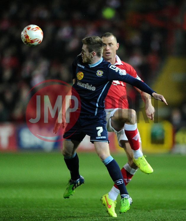 Crewe Alexandra's Oliver Turton battles for the ball with Bristol City's Aaron Wilbraham  - Photo mandatory by-line: Joe Meredith/JMP - Mobile: 07966 386802 - 17/03/2015 - SPORT - Football - Bristol - Ashton Gate - Bristol City v Crewe Alexandra - Sky Bet League One