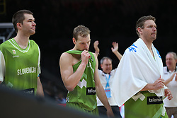 Uros Slokar of Slovenia, Jaka Blazic of Slovenia and Miha Zupan of Slovenia look dejected after the basketball match between Latvia and Slovenia at Day 8 in Round of 16 of FIBA Europe Eurobasket 2015, on September 12, 2015, in LOSC Lile stadium, Croatia. Photo by Marko Metlas / MN PRESS PHOTO / SPORTIDA