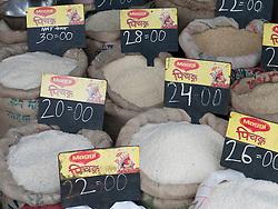 Sacks of rice in Mumbai shop.