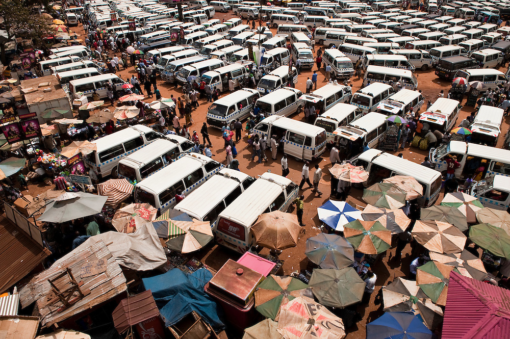 Kampala's central bus station viewed from above, Kampala, Uganda.