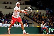 Lukasz Kubot of Poland competes during the BNP Paribas Davis Cup 2013 between Poland and Australia at Torwar Hall in Warsaw on September 13, 2013.<br /> <br /> Poland, Warsaw, September 13, 2013<br /> <br /> Picture also available in RAW (NEF) or TIFF format on special request.<br /> <br /> For editorial use only. Any commercial or promotional use requires permission.<br /> <br /> Photo by © Adam Nurkiewicz / Mediasport