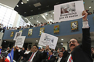 Presidente Mauricio Funes dio su cuarto informe a la Nacion Sabado JUN 01, 2012. El presidente fustigo a la derecha política salvadoreña por su forma de gobernar durante mas de veinte anos y a fuerte critica que han mantenido a su gobierno. Photo: Imagenes Libres.