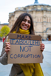 Edinburgh, Scotland, UK. 23rd October 2019. Demonstration in Bristo Square, Edinburgh, by Lebanese people who are protesting against corruption in the government in Lebanon. Recent days has seen huge demonstrations in Beirut by protestors from all sides of politics and religions who see the Lebanese government as corrupt . Iain Masterton/Alamy Live News.