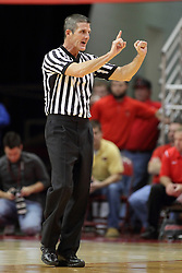 08 November 2015: Official Rick O'Neill makes a call to the bench indicating a foul on number 10. Illinois State Redbirds host the Southern Indiana Screaming Eagles and beat them 88-81 in an exhibition game at Redbird Arena in Normal Illinois (Photo by Alan Look)