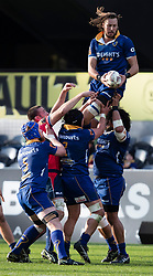 Otago's Josh Furno, top, collects a high ball against Tasman in the Mitre 10 Cup rugby match, Forsyth Barr Stadium, Dunedin, New Zealand, Sept. 16 2017.  Credit:SNPA / Adam Binns ** NO ARCHIVING**