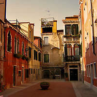 Italian buildings with small courtyard in Venice