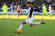 St Mirren midfielder Ethan Erhahon (39) crosses the ball during the Ladbrokes Scottish Premiership match between St Mirren and Hibernian at the Paisley 2021 Stadium, St Mirren, Scotland on 27 January 2019.